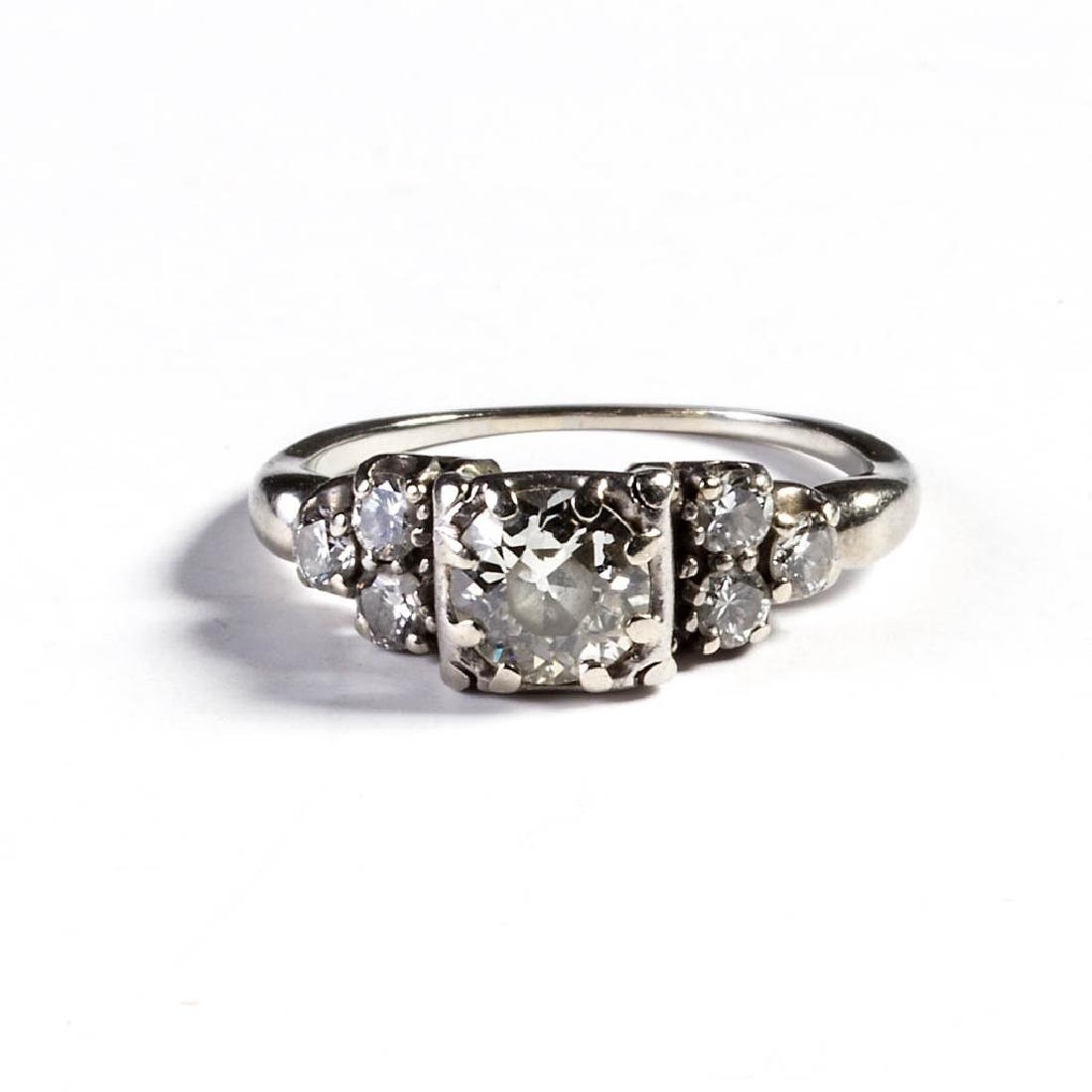 VINTAGE LADY'S 18K WHITE GOLD AND DIAMOND ENGAGEMENT