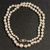 VINTAGE LADYS 14K GOLD AND PEARL NECKLACE