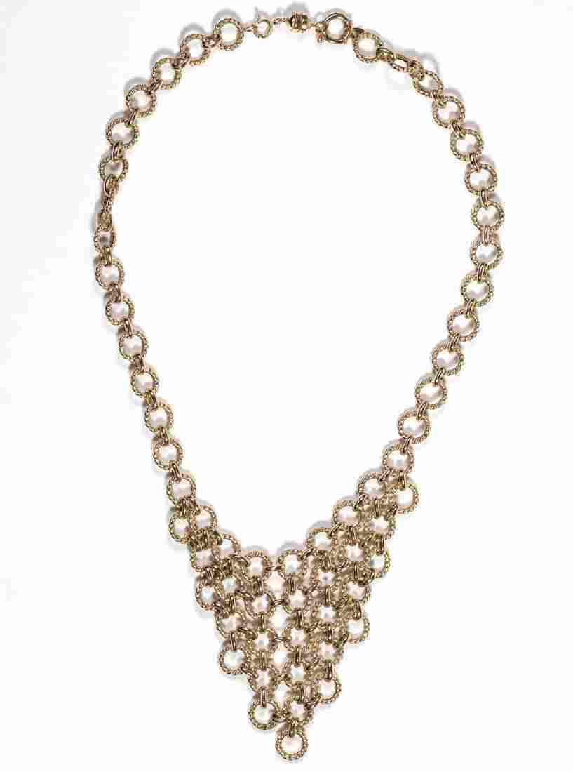 VINTAGE ITALIAN LADY'S 14K GOLD BIB NECKLACE