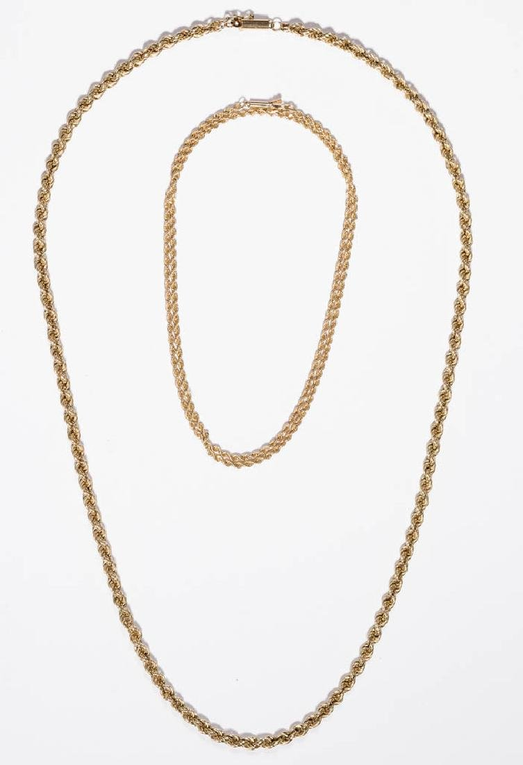 VINTAGE LADY'S 14K GOLD NECKLACES, LOT OF TWO