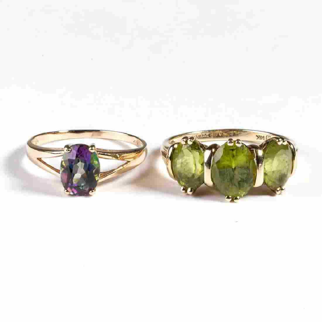 VINTAGE LADY'S 14K GOLD AND GEMSTONE RINGS, LOT OF TWO