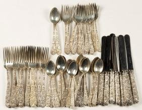 """KIRK """"REPOUSSE"""" STERLING SILVER PARTIAL FLATWARE"""