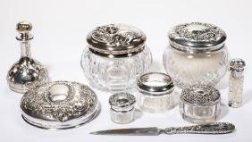 AMERICAN STERLING SILVER AND GLASS DRESSER ARTICLES,