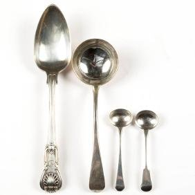 ENGLISH STERLING SILVER SPOONS, LOT OF FOUR