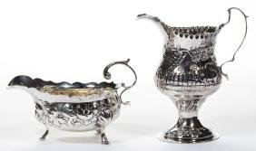 ENGLISH STERLING SILVER REPOUSSE CREAMERS, LOT OF TWO