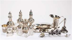 ASSORTED STERLING SILVER CONDIMENT AND OTHER ARTICLES,