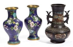 ASSORTED ASIAN CLOISONNE VASES, LOT OF THREE