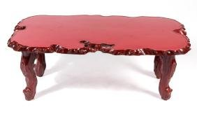 ASIAN-STYLE CARVED LACQUERED COFFEE TABLE
