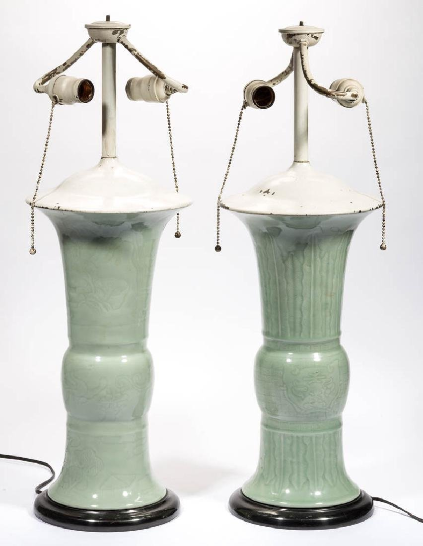 CHINESE CELADON CERAMIC VASES / LAMP BASES, LOT OF TWO