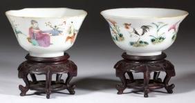 CHINESE EXPORT FAMILLE ROSE PORCELAIN TEA BOWLS, LOT OF