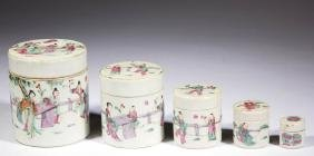 CHINESE FAMILLE ROSE PORCELAIN NESTING JARS, LOT OF