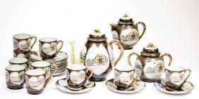 JAPANESE LITHOPHANE PORCELAIN TEA SET, LOT OF 25
