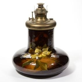 WELLER AURELIAN ART POTTERY KEROSENE LAMP BASE