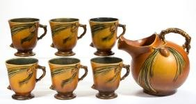 ROSEVILLE PINECONE ART POTTERY PITCHER AND CUPS, LOT OF