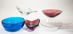 BLENKO GLASS - WINSLOW ANDERSON BOWLS / DISHES, LOT OF