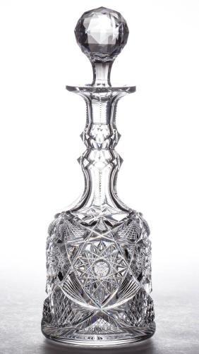 """LIBBEY """"COLONNA"""" BRILLIANT CUT GLASS DECANTER"""