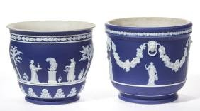 WEDGWOOD JASPERWARE CERAMIC JARDINIERES, LOT OF TWO