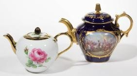 CONTINENTAL PORCELAIN TEAPOTS, LOT OF TWO