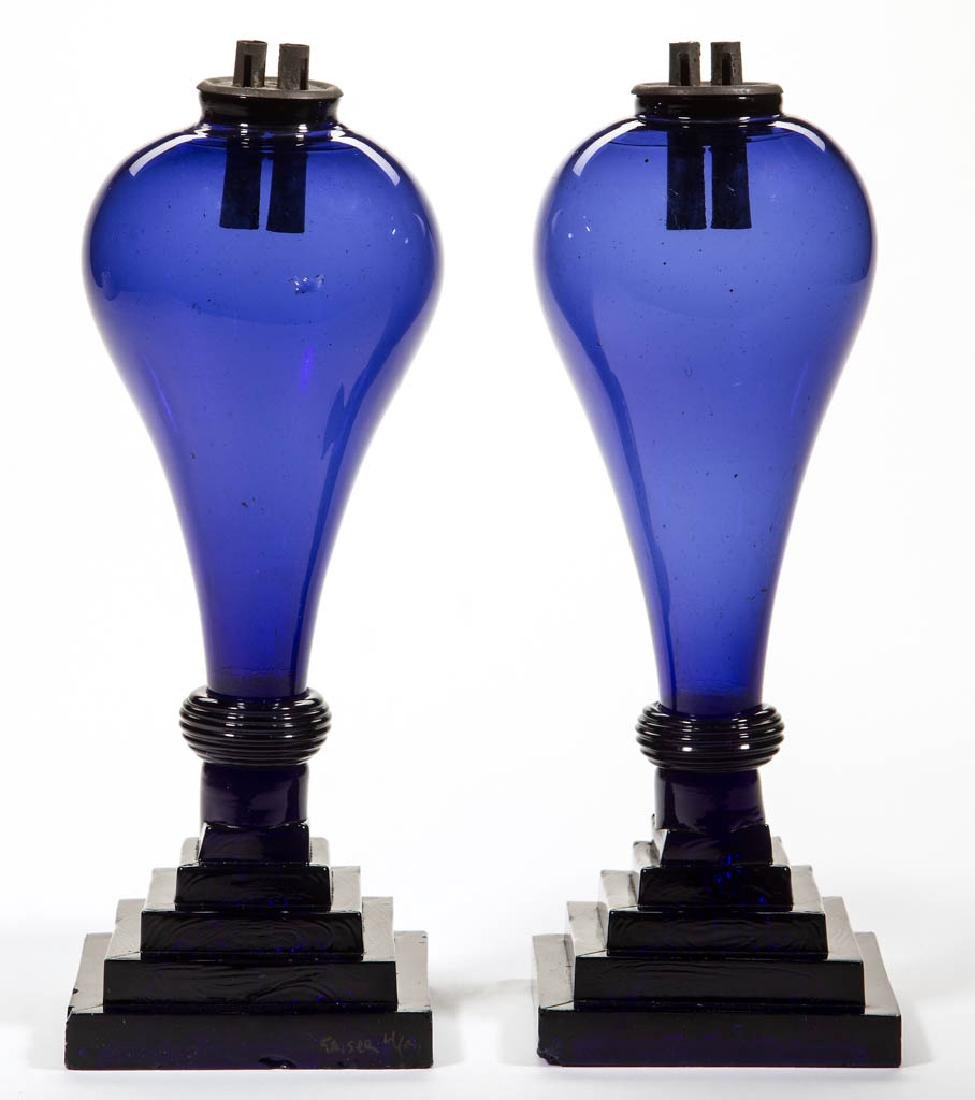 FREE-BLOWN AND PRESSED PAIR OF WHALE OIL STAND LAMPS
