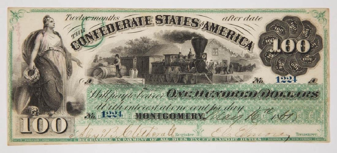 CONFEDERATE STATES $100 CIVIL WAR CURRENCY / NOTE