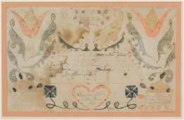 1803 JACOB FUCHS (FOX) FOLK ART FRAKTUR BIRTH AND
