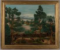 VALLEY OF VIRGINIA FOLK ART LANDSCAPE PAINTING