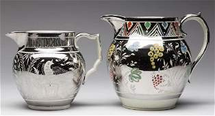 ENGLISH SILVER LUSTRE PEARLWARE CERAMIC PITCHERS, LOT