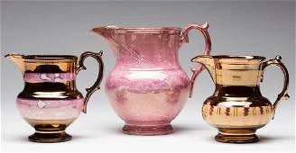 ENGLISH PINK AND COPPER LUSTRE CERAMIC PITCHERS, LOT OF