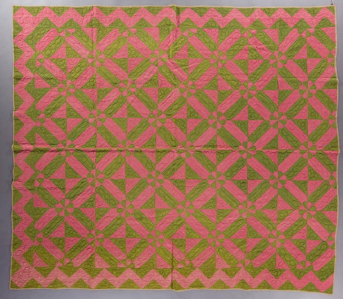 AMERICAN PINK AND POISON GREEN PIECED QUILT