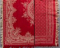 AMERICAN TURKEY RED COTTON / LINEN TABLE CLOTHS, LOT OF