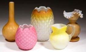 Assorted Satin Glass Articles, Lot Of Five