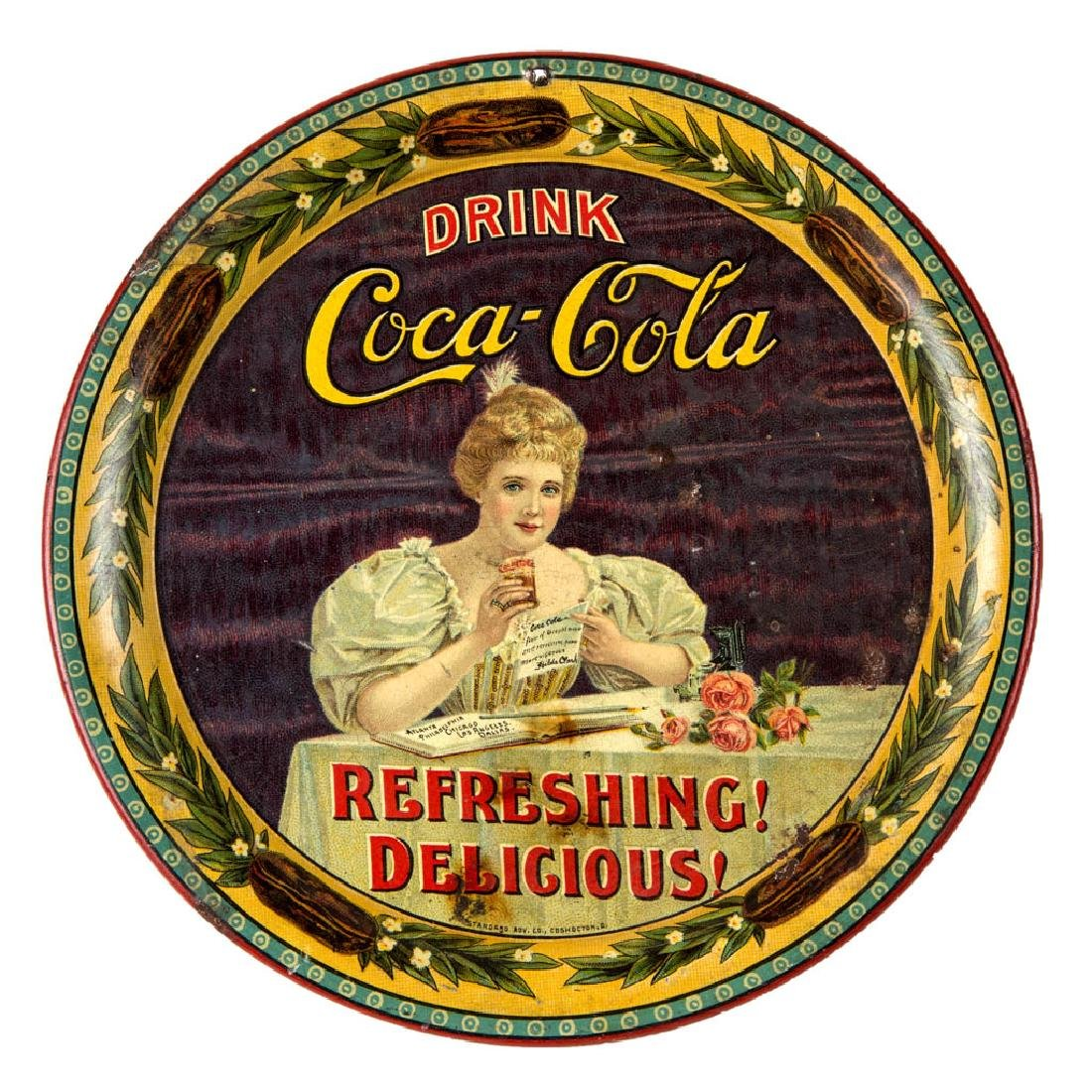 1900 COCA-COLA ADVERTISING TIN LITHOGRAPH CHANGE / TIP