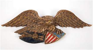 AMERICAN FOLK ART CARVED AND PAINTED EAGLE PLAQUE