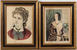 CURRIER  IVES PORTRAIT PRINTS LOT OF TWO