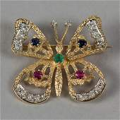 18K YELLOW GOLD LADYS BUTTERFLY BROOCH