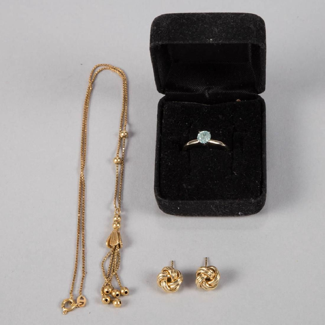 VINTAGE 18K GOLD LADY'S JEWELRY, LOT OF FOUR PIECES