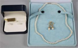 VINTAGE 14K GOLD AND CULTURED PEARL JEWELRY LOT OF