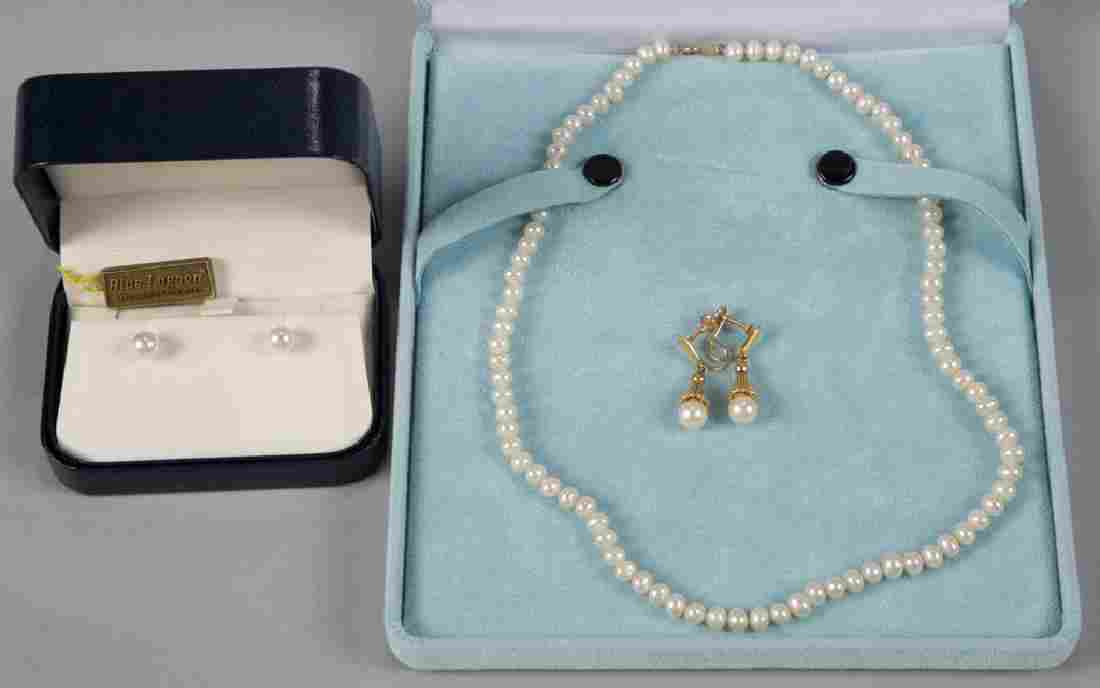 VINTAGE 14K GOLD AND CULTURED PEARL JEWELRY, LOT OF