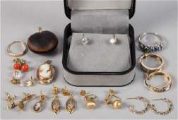 ASSORTED GOLD LADY'S JEWELRY, LOT OF 22 PIECES