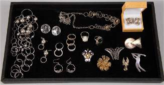 ASSORTED STERLING SILVER COSTUME JEWELRY, LOT OF 23