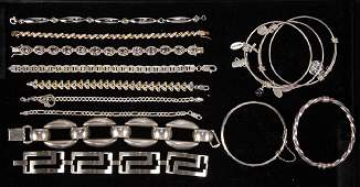 ASSORTED STERLING SILVER COSTUME JEWELRY BRACELETS, LOT