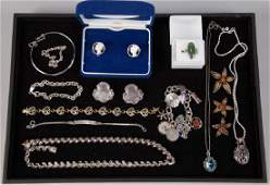 ASSORTED STERLING SILVER COSTUME JEWELRY, LOT OF 17