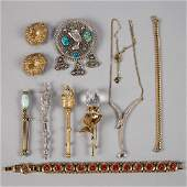 VINTAGE COSTUME JEWELRY, LOT OF TEN PIECES