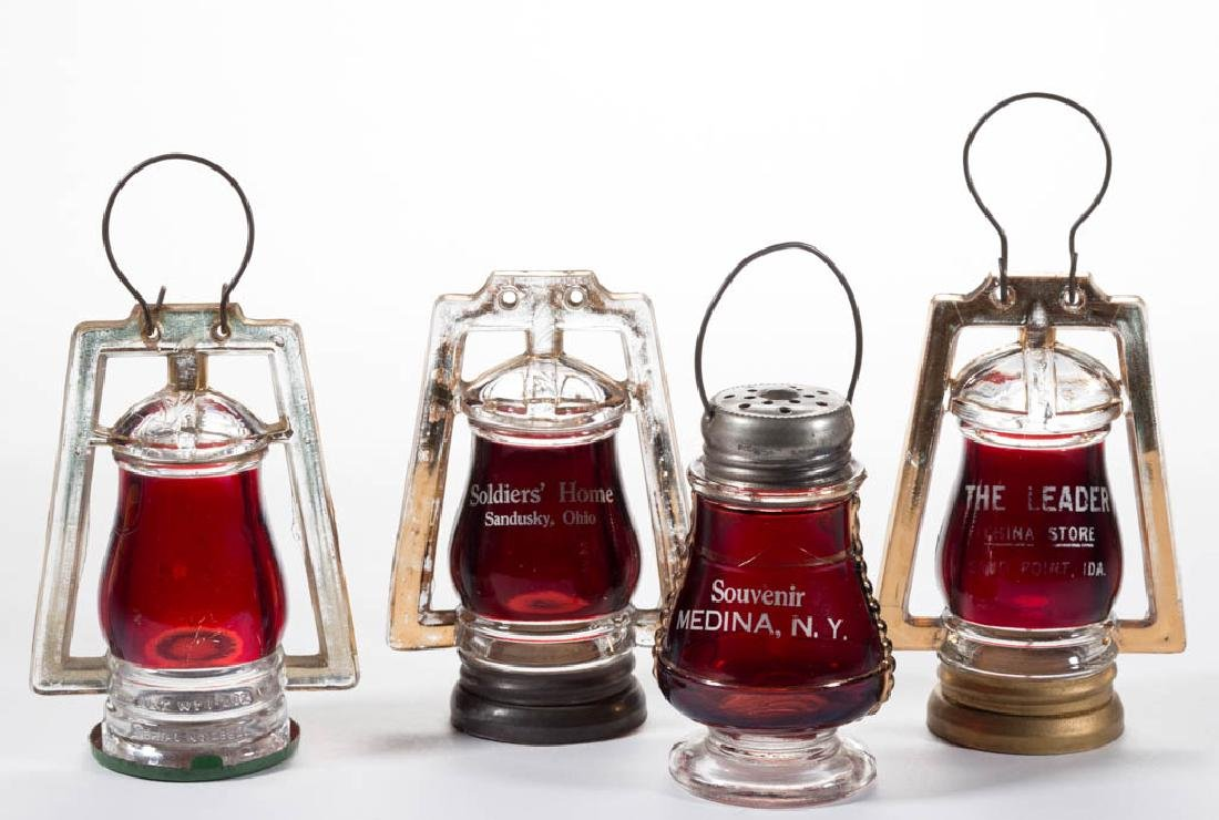 FIGURAL LANTERN - RUBY-STAINED CANDY CONTAINERS, LOT OF