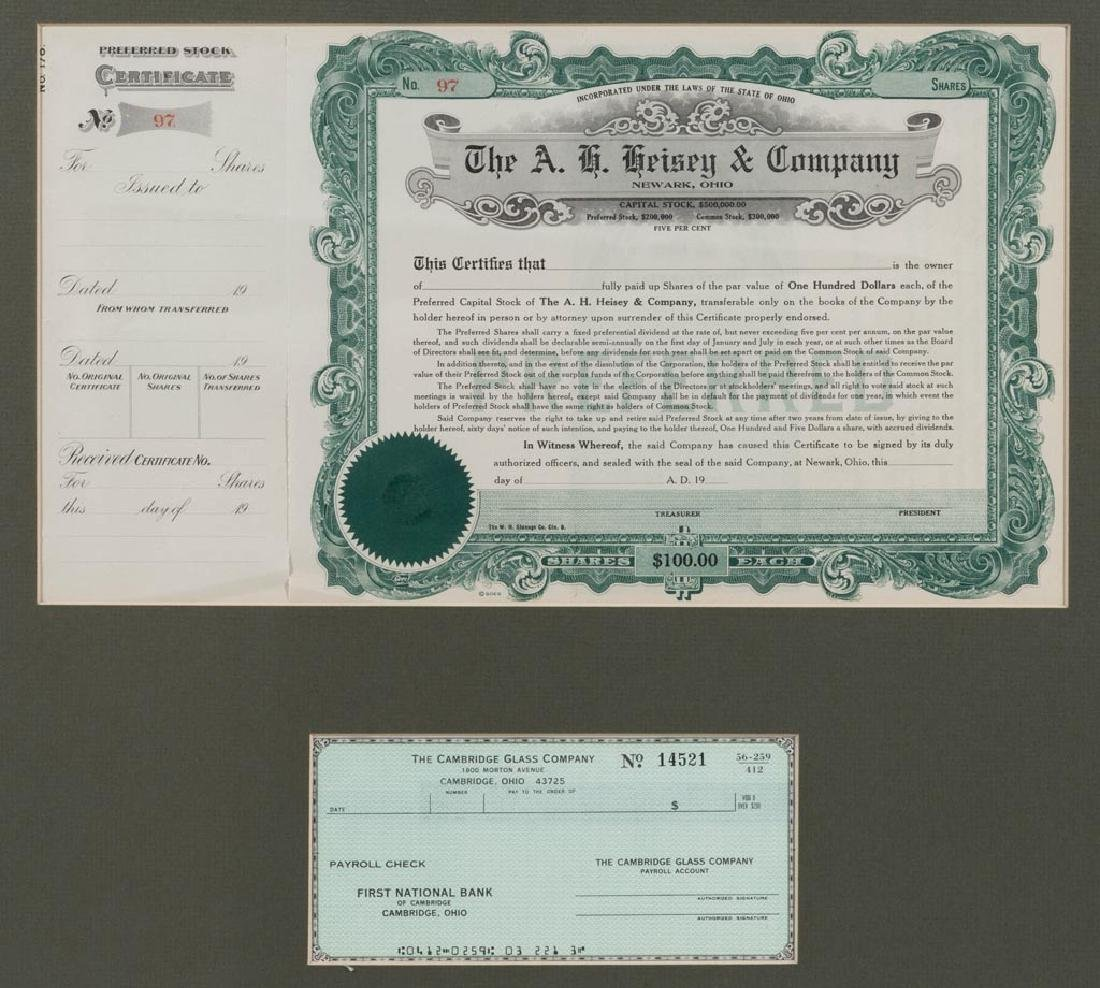 A. H. HEISEY & COMPANY STOCK CERTIFICATE - 2