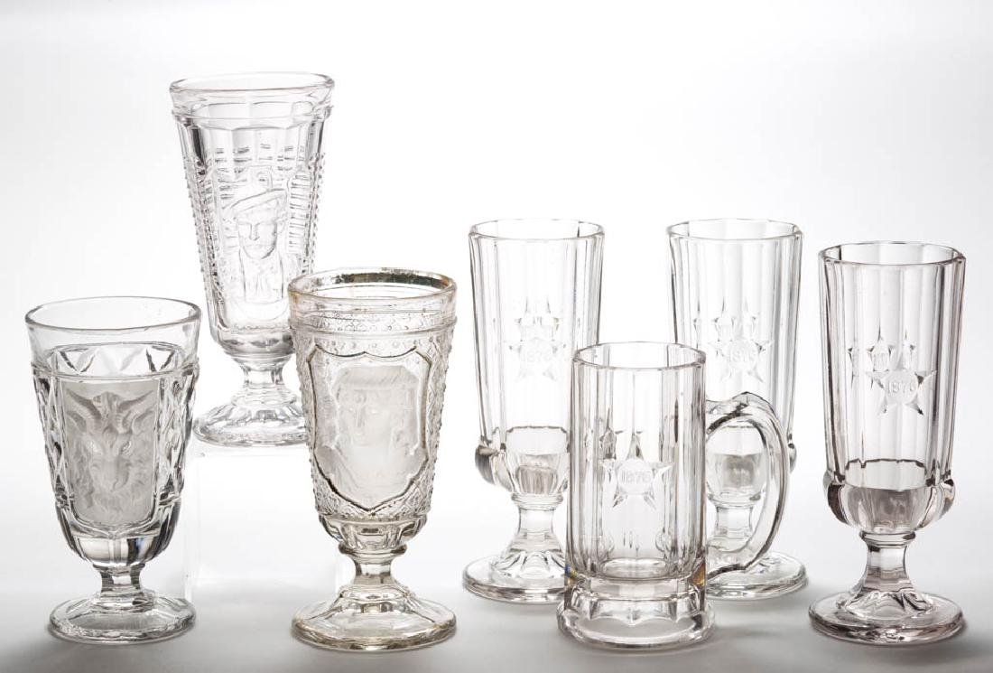 ASSORTED PRESSED GLASS DRINKING ARTICLES, LOT OF SEVEN
