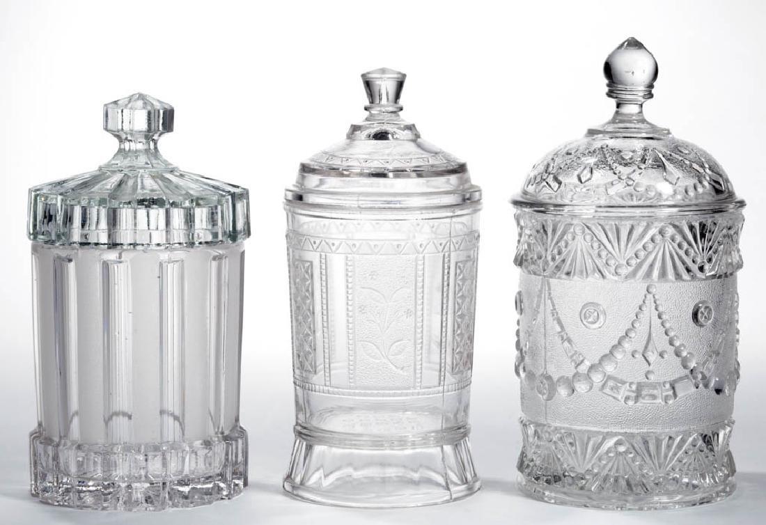 ASSORTED EAPG JAM / PICKLE JARS, LOT OF THREE
