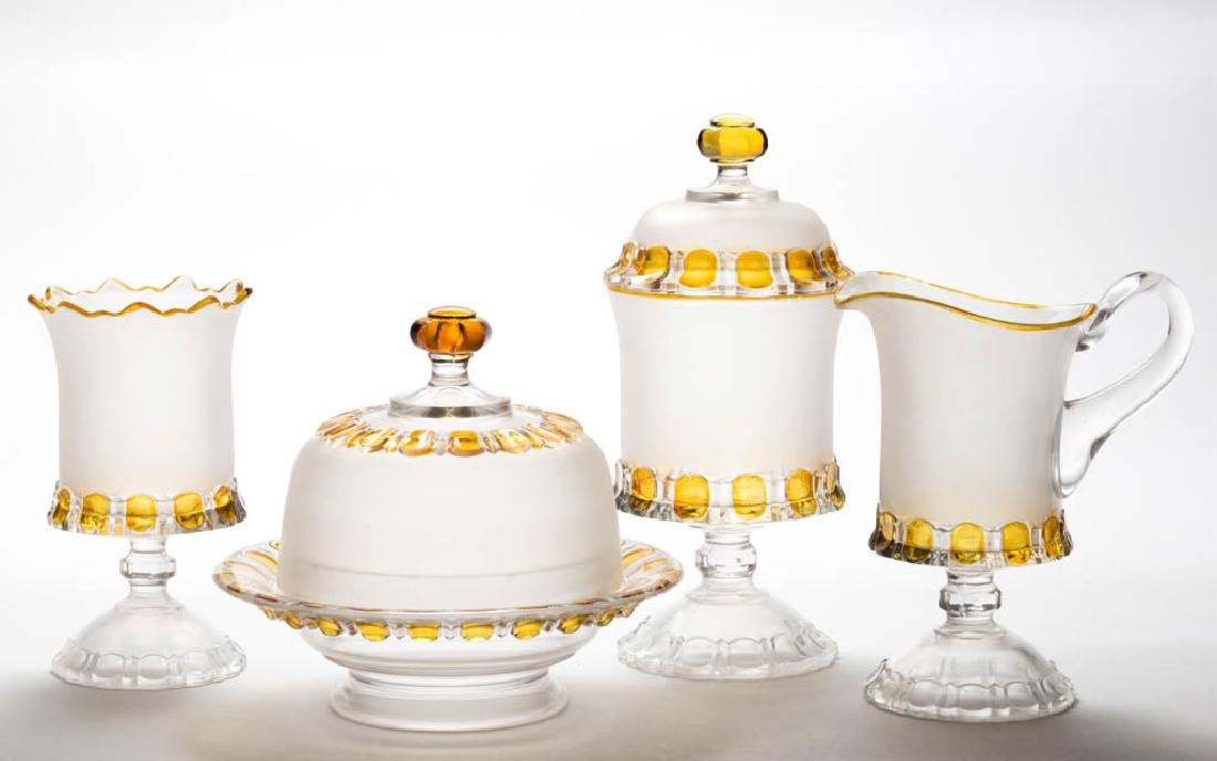 ADAMS APOLLO - AMBER-STAINED FOUR-PIECE TABLE SET
