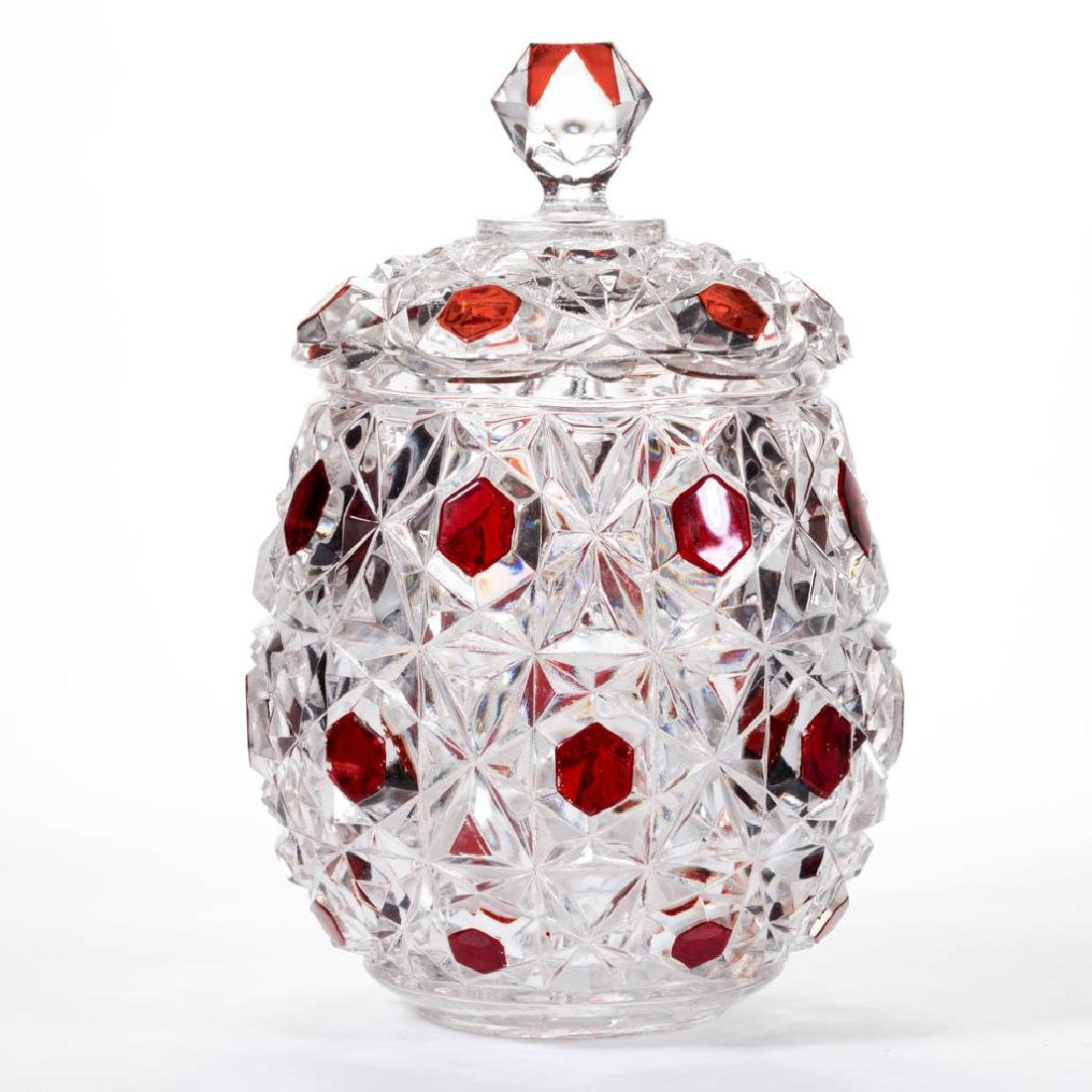 BIG BUTTON - RUBY-STAINED CRACKER JAR
