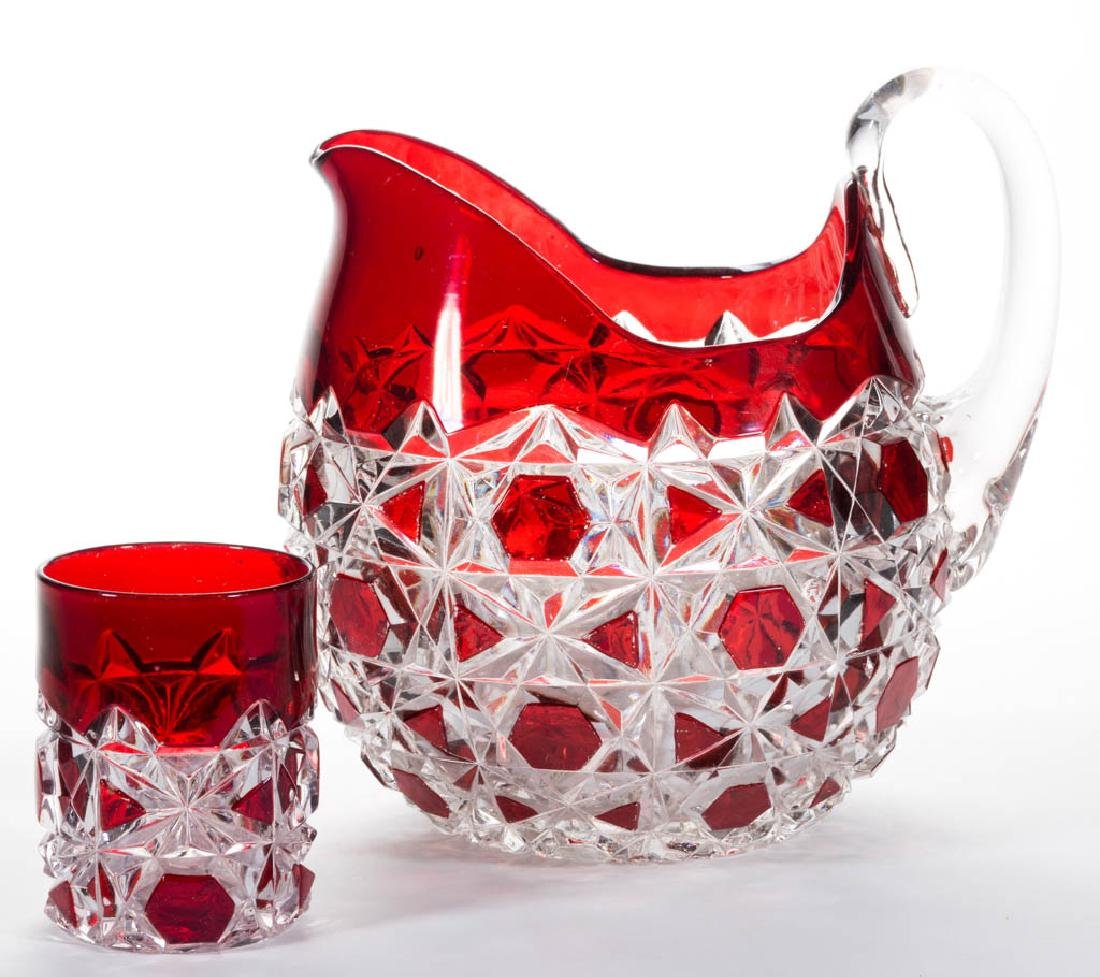 BLOCK AND LATTICE - RUBY-STAINED WATER PITCHER AND
